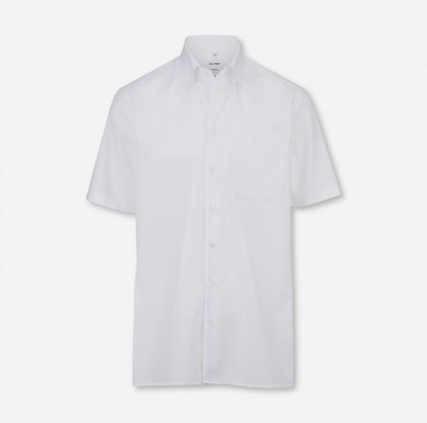 OLYMP Tendenz, modern fit, Button-down, Kurzarm, Weiß, Uni
