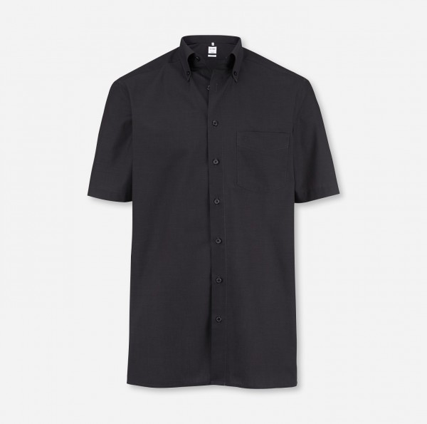 OLYMP Tendenz, modern fit, Button-down, Kurzarm, Anthrazit, Fil à Fil