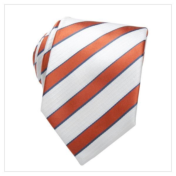 XL - KRAWATTE, SEIDE, gestreift, orange, weiß