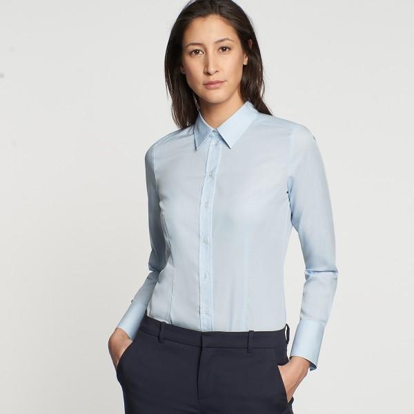 Seidensticker Bluse - Regular, Kentkragen, Langarm, geschlossener Kragen, Hellblau