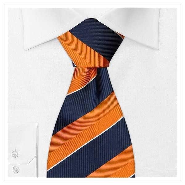XL - KRAWATTE, Überlänge, orange/nachtblau gestreift