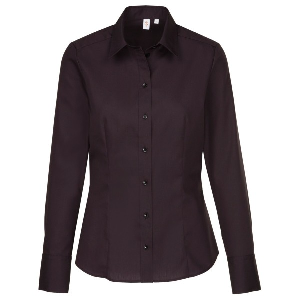 Seidensticker Bluse - Regular, Kentkragen, Langarm, geschlossener Kragen, Schwarz