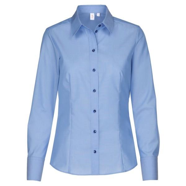 Seidensticker Bluse - Regular, Kentkragen, Langarm, geschlossener Kragen, Mittelblau