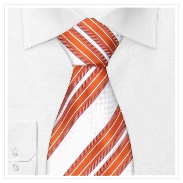 XL - LUXUS KRAWATTE SEIDE-Überlänge. orange auf weißem Grund gestreifte Krawatte