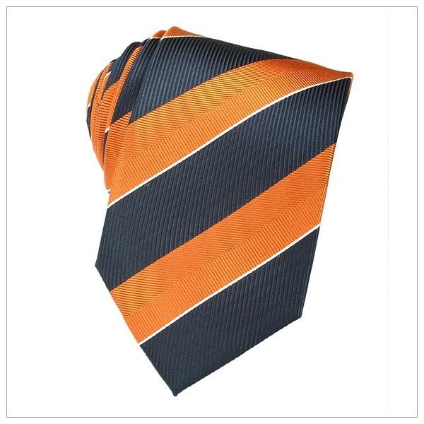 6069_KRAWATTEN, NEU, orange/nachtblau/weiß gestreift