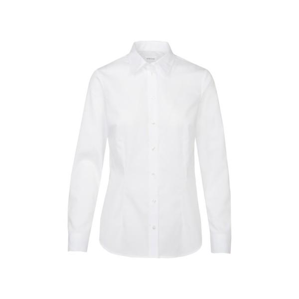 Seidensticker Bluse - Slim, Kentkragen, Langarm, geschlossener Kragen, Weiß