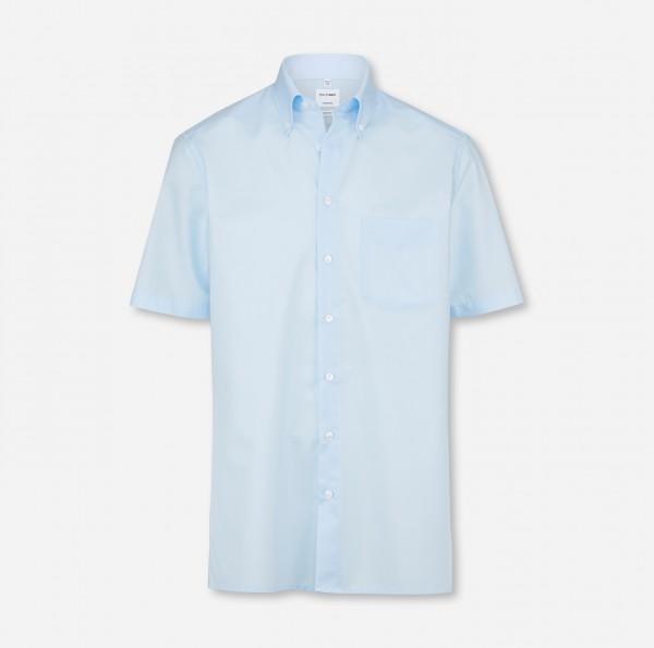 OLYMP Tendenz, modern fit, Button-down, Kurzarm, Hellblau, Uni