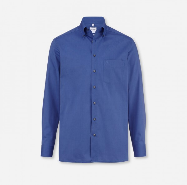 OLYMP Tendenz, modern fit, Button-down, Mittelblau, Fil à Fil