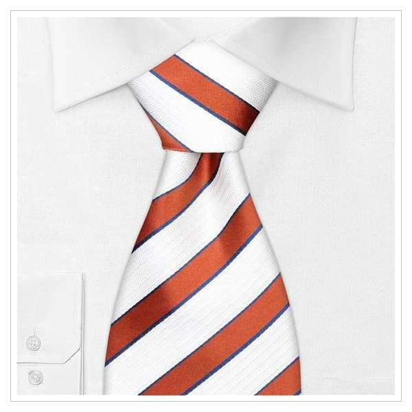 6106_KRAWATTE, SEIDE, gestreift orange weiß