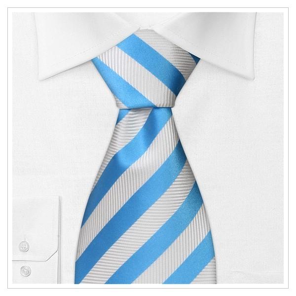 XL-Krawatte-Überlänge gestreift in Blau, Weiß