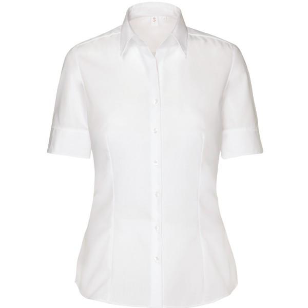 Seidensticker Bluse - Regular, Kentkragen, Kurzarm, offener Kragen, Weiß